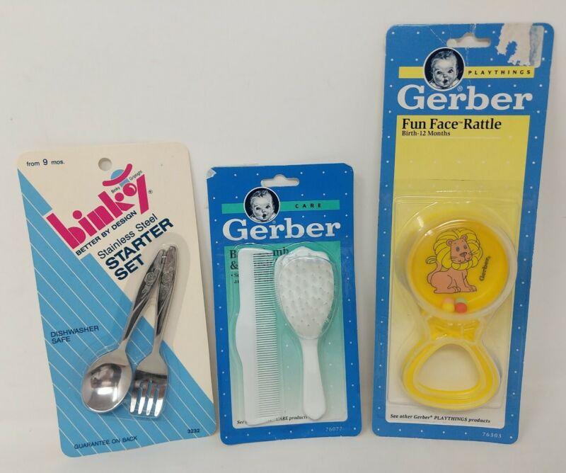 Gerber Baby Rattle Lion Comb Brush Binky Stainless Steel Kids Spoon Fork VTG 90s