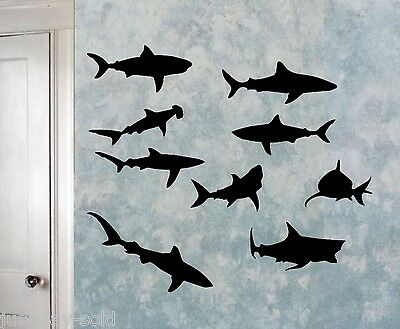 Sharks Sea Creatures - Vinyl Wall Decals Set of 9 - Select Color - Colorful Sea Creatures