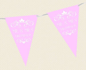 PERSONALISED WEDDING BUNTING - BANNER - REGAL DESIGN choice of flag colours