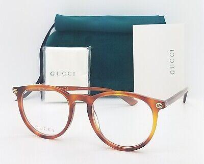 NEW Gucci RX Frame Glasses Light Havana GG0027O 003 50mm AUTHENTIC Round (Gucci Round Frame Glasses)