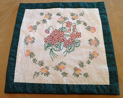 Vintage Quilt Wall Hanging, Embroidery, Flowers And Leaves, Orange, Green, White