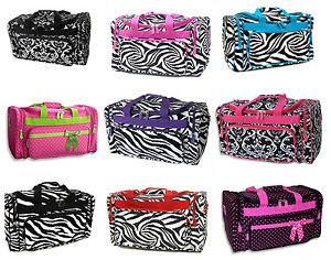 NEW-20-Luggage-Duffel-Overnight-Diaper-Bag-Polka-Dots-Animal-Print-Zebra-Damask