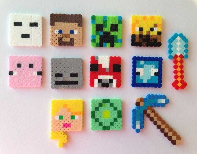 Set of 12 Minecraft Birthday Cake Cupcake Toppers Perler Beads Handmade New