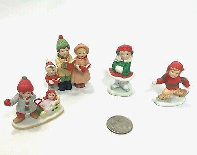 Vintage Lefton Christmas Village Figures Carolers Boy Girl Sled 1986-87 Lot of 4