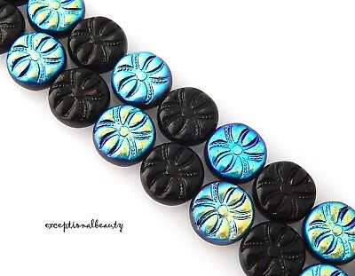25 Czech Glass 13mm Jet Black AB Spider Design Flat Coin Disc Halloween Beads