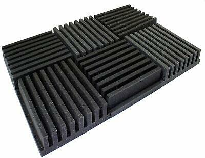 "6 PACK Frieze Acoustic Wedge Studio Soundproofing Foam Wall Tiles 36"" x 24""x 3"""