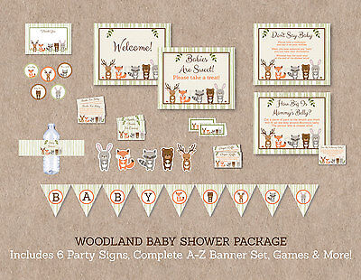 Woodland Animals Printable Baby Shower Party Package](Baby Shower Decoration Packages)