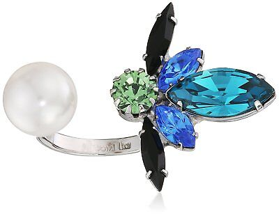 JOOMI LIM GARDEN PARTY CRYSTAL BUG AND PEARL OPEN RING RRP £ 282