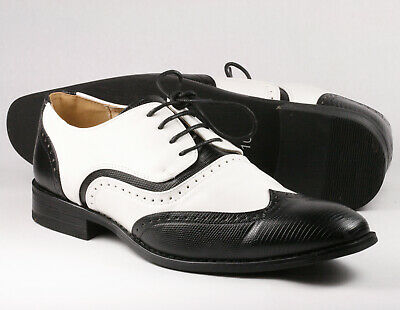 Black White Men's Wing Tip Lace Up Oxford Dress Shoes