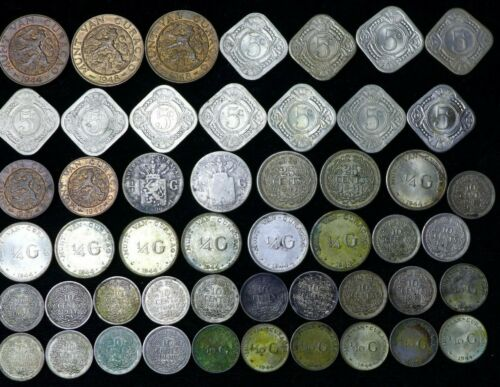 Lot of (50) Curacao (Suriname) 1, 2.5, 5 25 Cent 1/4 & 1/10 Gulden Coins
