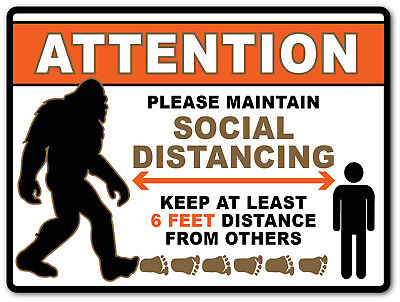 2 - Social Distancing Bigfoot Sticker - Sign Virus Business Store Garage Shop