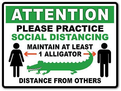 2 - Social Distancing Alligator Sticker - Sign Virus Business Store Florida
