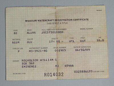 1988 Missouri Watercraft Registration Fishing License Permit...Free Shipping!