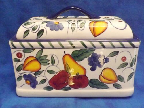 Baum Bros Style Eyes rooster and fruits bread box with blue trim