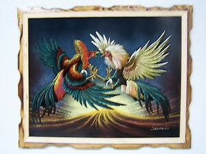 COCK-FIGHT-PELEA-DE-GALLOS-VELVET-PAINTING-VINTAGE-18-BY-22-W-FRAME-ART-GIRO