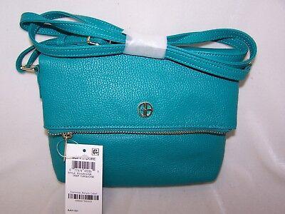 Teal Pebble Leather Handbag Swingpack Crossbody Zipper Flap by Giani (Giani Bernini Pebble Leather Zipper Flap Crossbody)