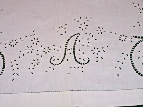 "EXQUISITE ANTIQUE ITALIAN CUTWORK PILLOW SHAM, LAYOVER WHITEWORK,  ""A"" MONO 1920"
