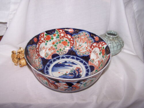 CHINESE Japanese bowl  old IMARI colored porcelain GOLD  GREEN VILLAGE- OFFERS!