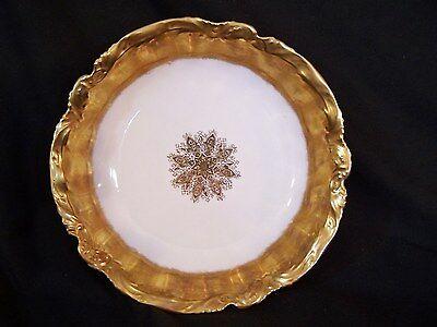 Antique LIMOGES France LS&S WIDE GOLD ENCRUSTED w/ Medallion LG SERVING BOWL