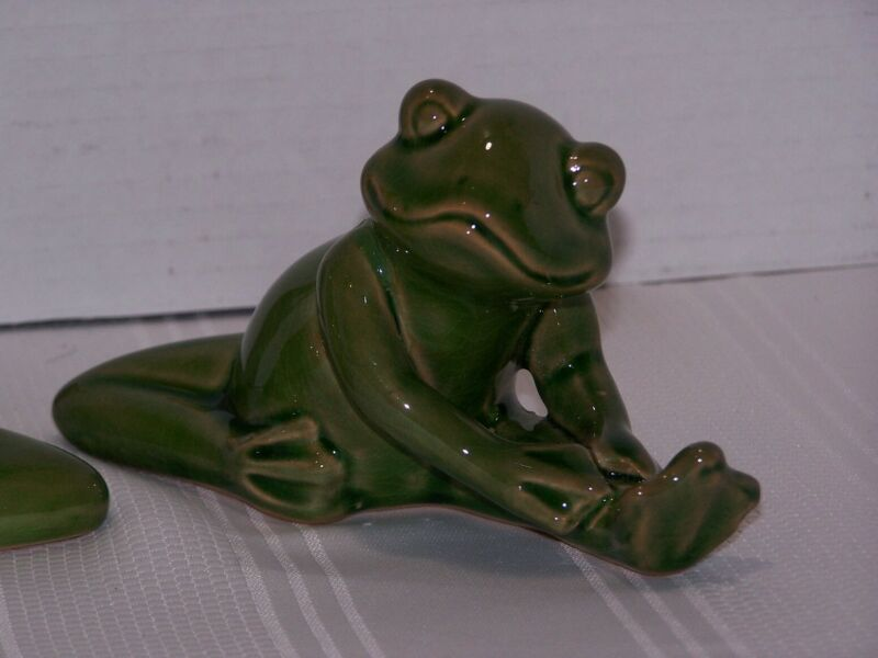 Vintage Ceramic Frogs Yoga Stretching Exercising Zen Set of 3