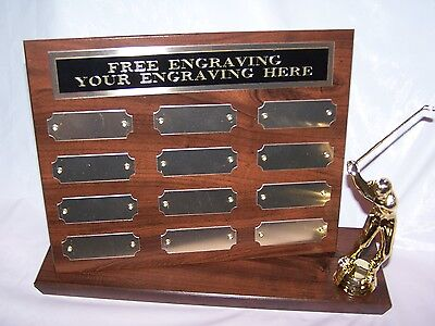 GOLF LEAGUE/HOLE IN ONE STAND UP PERPETUAL PLAQUE TROPHY AWARD - FREE ENGRAVING!