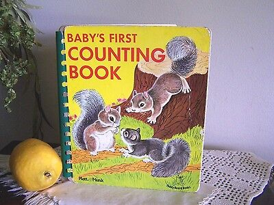 1960s BABYS FIRST COUNTING BOOK Board Book PLATT MUNK CHILDRENS Animals Rare VTG