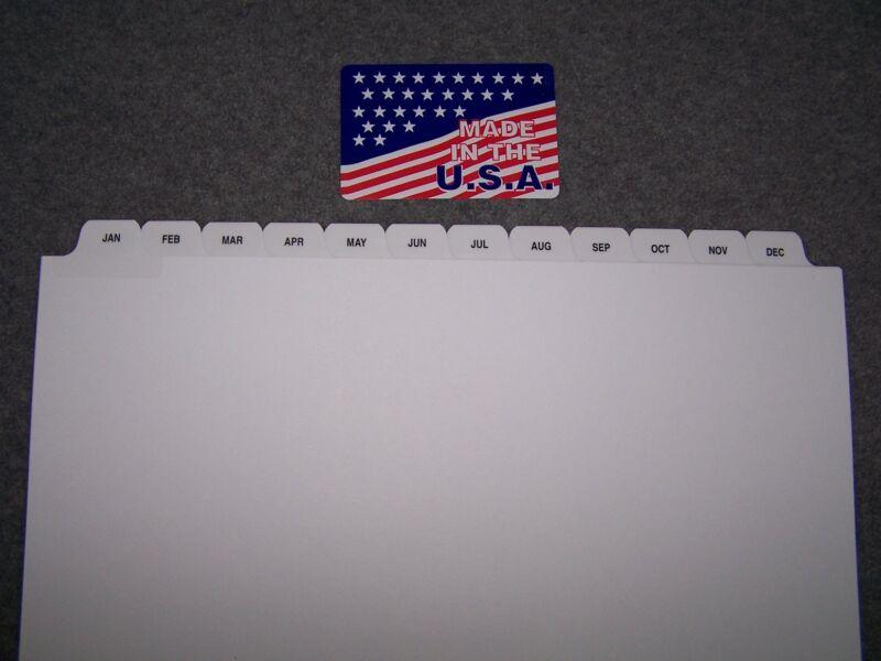 JAN-DEC Loose Leaf Index Tab Dividers 100 SETS Made in USA