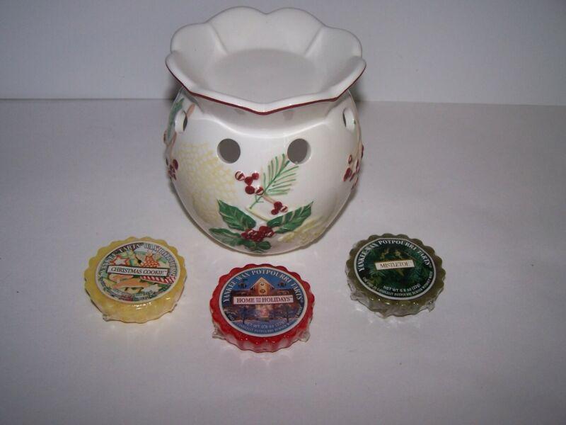 Yankee Candle Christmas Holly Berries Tart Warmer Burners~Tart~Tealight w/3 Tart