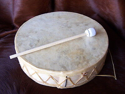 "Rawhide Drum 12"", CEREMONIAL, Dance, Drum circle,Shaman, WITH BEATER,DECOR,NEW"