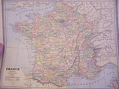 ANTIQUE - MAP OF FRANCE / sWITZERLAND / ROAMN EMPIRE  - 1899  - EXCELLENT