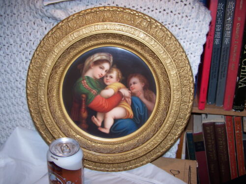 LARGE FRAMED Antique KPM? ROUND MADONNA  Dresden Porcelain Plaque  Painting