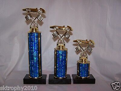 3 Pinewood Derby Cub Scouts Trophies First -Second -Third -Free Engraving!!!