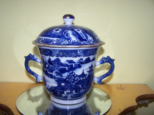 RARE 18TH SHAPE LARGE CUP LID Antique Chinese Export Canton FITZHUGH Blue White