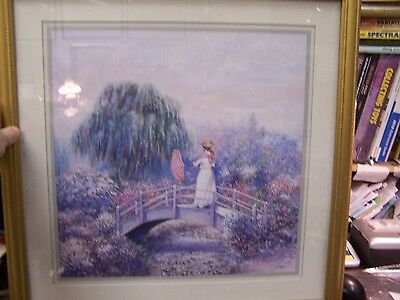 Well Dressed Lady   Bridge Print 22 By 22   Beautiful Gold Wood Framed   Matted