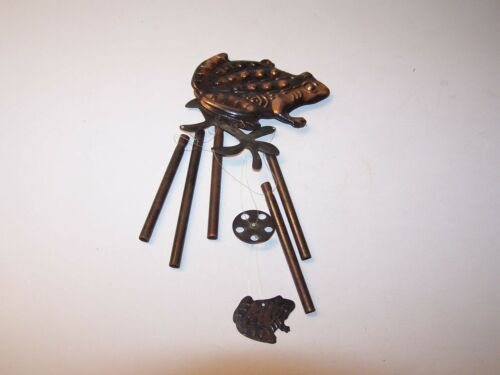 pressed steel brass plated frog windchime 2 sided