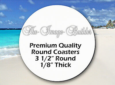"50 Blank White 3 1/2"" Round Coasters x 1/8"" Thick Sublimation Heat Trans Round50"