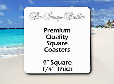 "50 Blank White Square Coasters 4"" x 1/4"" Sublimation Heat Transfers Square50FS"