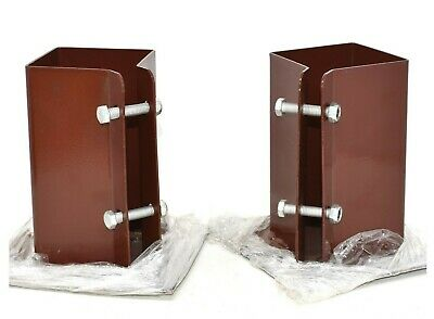 10 x BOLT DOWN BOLT SECURE  FENCE POST SHOES 75 x 75mm BROWN POWDER COATED
