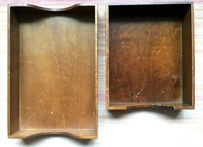 Vtg Wood Tray Desk Paper File Tray Box Office Dovetailed 1 Legal 1 Letter Size
