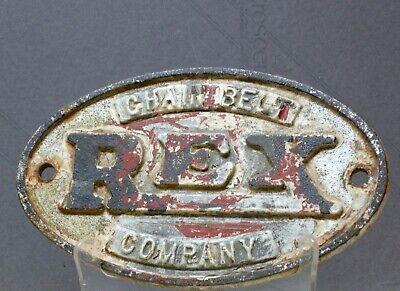 HTF Vtg REX Chain Belt Co Heavy Cast Iron INDUSTRIAL Ag Plaque Sign WALL DECOR