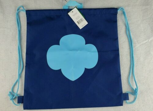 Girl Scouts Drawstring Trefoil Backpack Bag Navy/Light Blue New With Tags