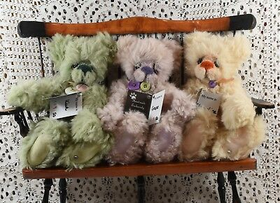 Rare Very Cute Kaycee Bears Set of 3 L Editions 9/50 Grape, Kiwi and Clementine