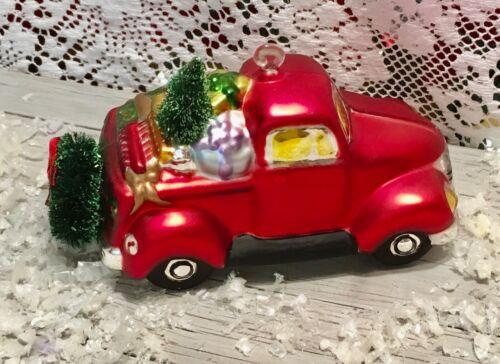 BLOWN GLASS CHRISTMAS TRUCK ORNAMENT