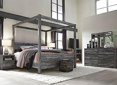 AMBROSE Modern Smokey Gray 5pcs Bedroom Set Furniture w/ King Poster Canopy Bed