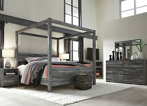 AMBROSE 5 pieces Modern Smokey Gray Bedroom Set w/ Queen Poster Canopy Bed NEW & Queen Canopy Bedroom Set | eBay