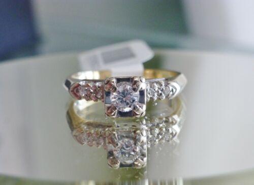 Antique Art Deco Diamond Bridal Set Engagement Ring Wedding Band 2 Ring 14K Set