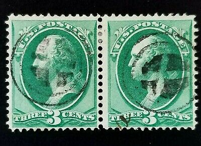 US SCOTT #136 3 CENT BANKNOTE PAIR USED H GRILL FANCY CANCEL IONIA MI NICE!