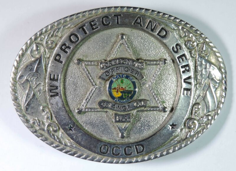 Creative Castings Orange Orange Florida Corrections Officer OCCD Belt Buckle