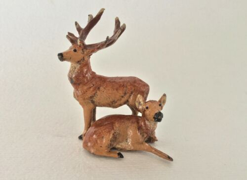 htf PUTZ Mini Lead Double DEER Elk REINDEER Painted Metal Stag & Roe Figurine 2""