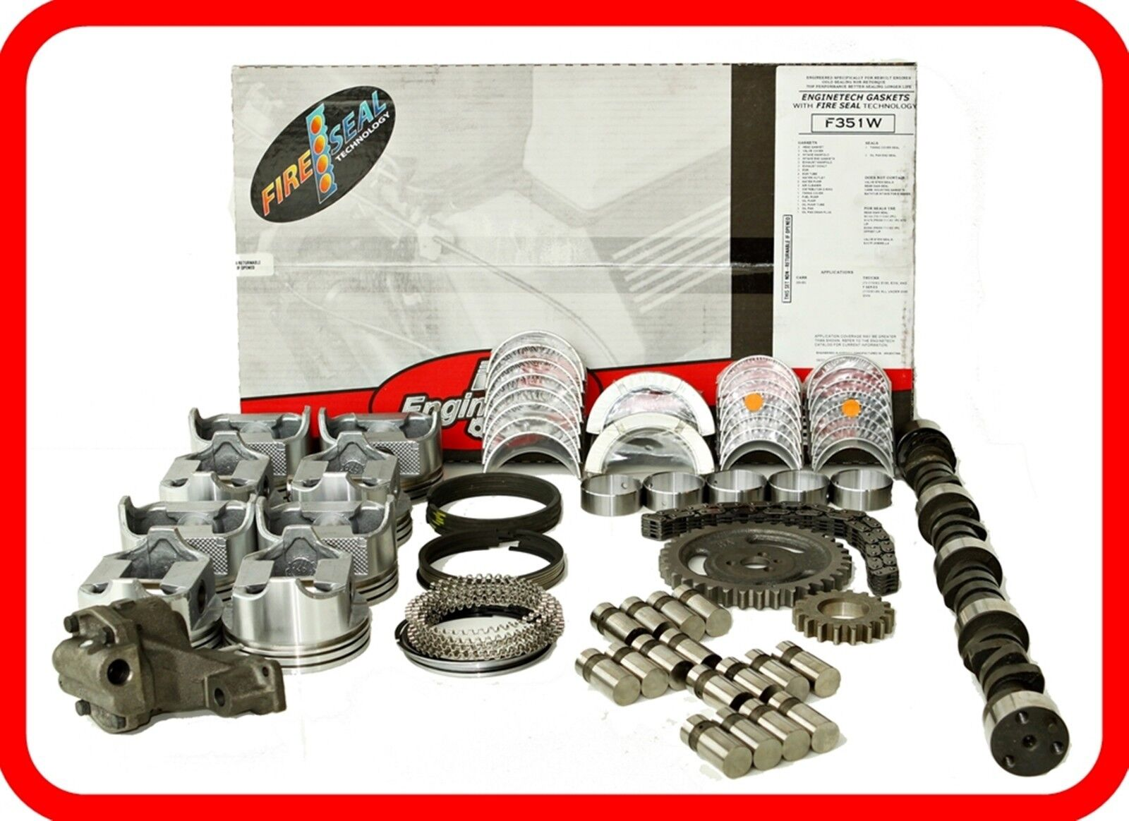MASTER ENGINE REBUILD KIT for 1972-1976 FORD SBF 302 5.0L 5.0 V8 FLAT TOP PISTON
